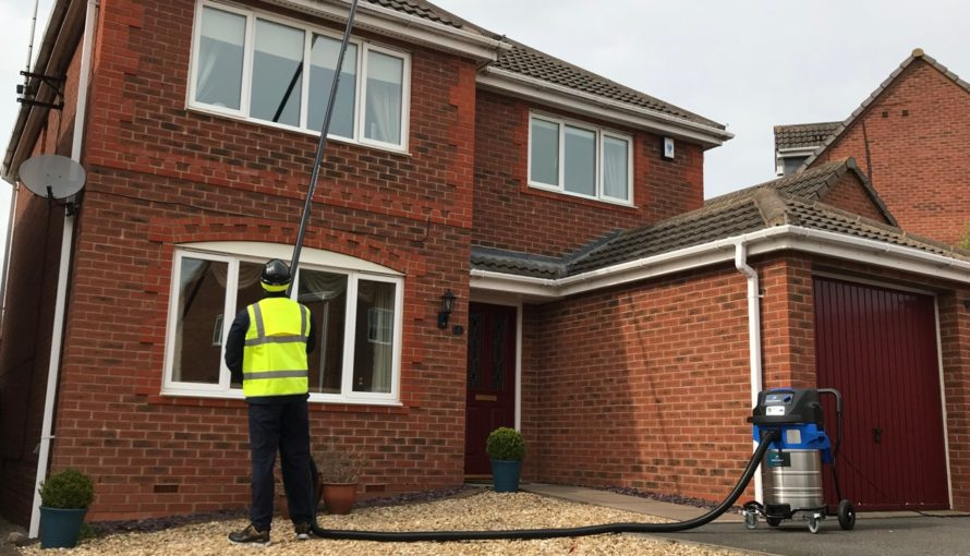 Domestic Gutter cleaning with Spacevac gutter vacuum
